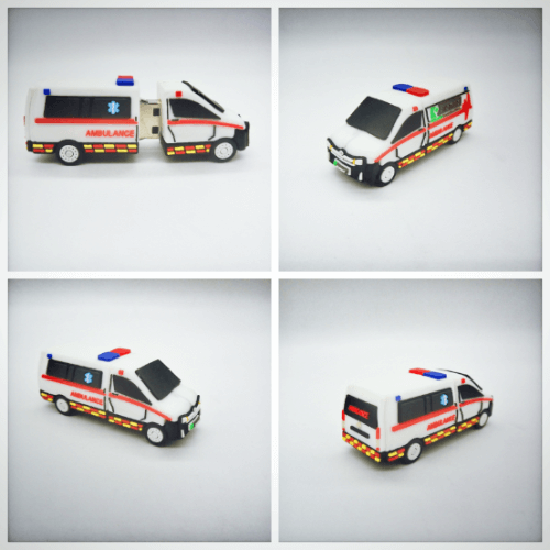 Custom USB drives in ambulance car